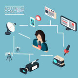 Mass media journalism broadcasting news cast concept. Flat isometric business icons set of paparazzi profession live radio for infographics design web elements vector illustration