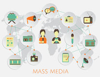 Mass media journalism news concept flat business icons. Of newspaper paparazzi profession live radio for infographics design with a background map of the world stock illustration