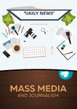 Mass media and journalism. Work place. Vector illustration. Mass media and journalism. Work place. Vector illustration vector illustration