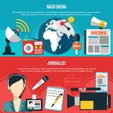 Mass Media And Journalist Horizontal Banners. With classic journalist accessories and modern communication technology elements flat vector illustration royalty free illustration