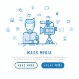 Mass media: journalist makes reportage vector illustration