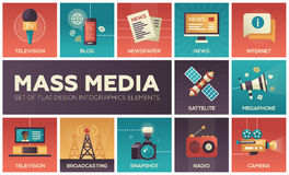 Mass Media line design icons set Royalty Free Stock Photography