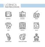 Mass Media - monochromatic modern single line icons set Royalty Free Stock Photos