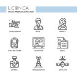 Mass Media - monochromatic modern single line icons set Royalty Free Stock Photos