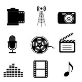 Mass media and multimedia icons. In black vector illustration