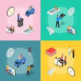Mass Media News Banner Card Set Isometric View. Vector. Mass Media News Banner Card Set with Professional Journalists, Camera Live Social and Sport Broadcasting royalty free illustration