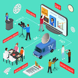 Mass Media News Concept Isometric View. Vector. Mass Media News Concept with Professional Journalists, Camera Live Social and Sport Broadcasting Isometric View vector illustration