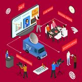 Mass Media News Concept Isometric View. Vector vector illustration