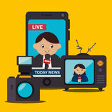 Mass media news graphic. Design with icons, vector illustration royalty free illustration