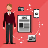 Mass media news graphic. Design with icons, vector illustration stock illustration