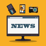 Mass media news graphic. Design with icons, vector illustration vector illustration