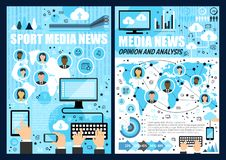 Mass media news. Mobile phone, computer, tablet. News media industry with printed newspaper, broadcast news on radio and tv and internet online applications with royalty free illustration