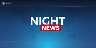 Mass media. Night news. Breaking news banner. Live. Television studio. TV show. Stock Photos