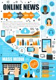 Online news and mass media vector infographics. Mass media and online news infographics. Vector statistics on journalists and television anchors, diagram and vector illustration