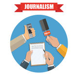 Mass media and press conference journalism icon. Hands holding voice recorder, microphone and spiral notebook with pen in circle. Mass media and press conference Royalty Free Stock Photos