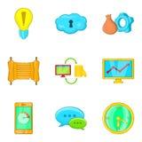 Mass media representative icons set, cartoon style. Mass media representative icons set. Cartoon set of 9 mass media representative vector icons for web isolated vector illustration
