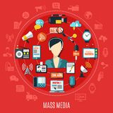 Mass Media Round Design Concept stock illustration