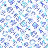 Mass media seamless pattern with thin line icons: journalist, ne. Wspaper, article, blog, report, radio, internet. Modern vector illustration royalty free illustration