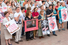 'Mass Media - stop lying!' in Moscow, Russia Stock Photo