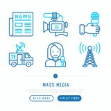 Mass media thin line icons set: newspaper, article, blog, report vector illustration