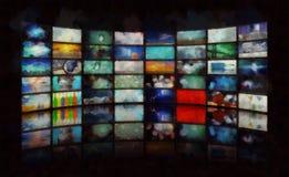 Mass media. Wall of TV`s screens stock illustration