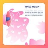 Mass Media Website Vector Color Flat Template. Broadcast Media. Digital Media Landing Page. Television, Internet News Coverage Network Illustration. Internet royalty free illustration