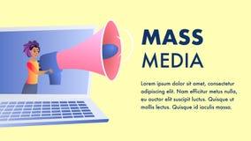 Mass Media Website Vector Flat Color Template. Broadcast Media. Digital Media Landing Page. Television, Internet News Coverage Network Illustration. Internet royalty free illustration
