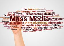 Mass Media word cloud and hand with marker concept. On white background vector illustration