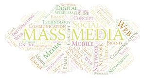 Mass Media word cloud. Word cloud made with text only vector illustration