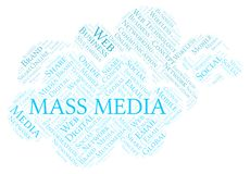 Mass Media word cloud. Great graphic illustration for your needs, beautiful and colorful stock illustration