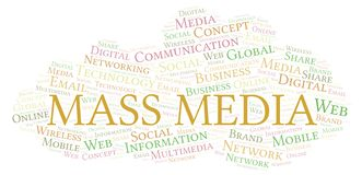 Mass Media word cloud. Word cloud made with text only stock illustration