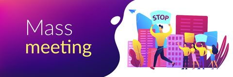 Mass meeting concept banner header. stock illustration