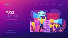 Mass meeting concept landing page. vector illustration