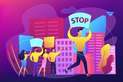 Mass meeting concept vector illustration. Crowd of protesting tiny people holding placards and banners with stop on the meeting. Mass meeting, assembly of stock illustration
