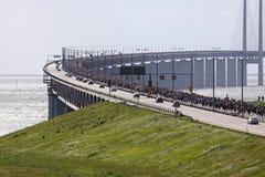 Mass movement over the bridge royalty free stock image