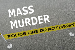 Mass Murder concept. 3D illustration of MASS MURDER title on the ground in a police arena vector illustration