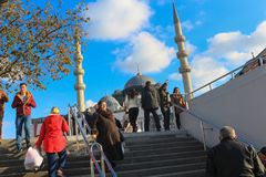 A Mass of People Move Stairs of Underpass at Eminonu in Istanbul. Men and Women Stairs of Underpass at Eminonu in Istanbul Turkey Stock Photos