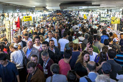 A mass of people move through an underpass at Eminonu in Istanbul in Turkey. Royalty Free Stock Image