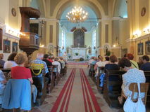 Mass for pilgrims in the Catholic Church Saint Jerome in Herceg Novi Stock Images