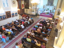 Mass for pilgrims in the Catholic Church Saint Jerome in Herceg Novi Royalty Free Stock Photo