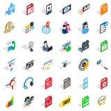 Mass press icons set, isometric style. Mass press icons set. Isometric set of 36 mass press vector icons for web isolated on white background royalty free illustration