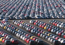 Mass production. Of cars, relevant for pollution and climate change Royalty Free Stock Photos