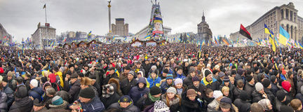 Mass protest against the pro-Russian Ukrainians course Presiden Royalty Free Stock Images
