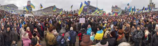Mass protest against the pro-Russian Ukrainians course Presiden Stock Image