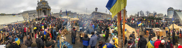 Mass protest against the pro-Russian Ukrainians course Presiden Royalty Free Stock Photo