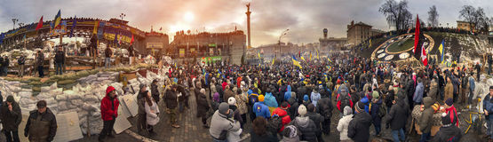 Mass protest against the pro-Russian Ukrainians course Presiden Stock Photography