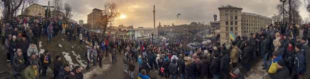 Mass protest against the pro-Russian Ukrainians course Presiden Royalty Free Stock Photos