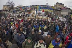 Mass protest against the pro-Russian Ukrainians course Presiden Stock Photo