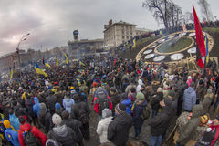 Mass protest against the pro-Russian Ukrainians course Presiden Stock Photo