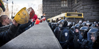 Mass protests of miners Royalty Free Stock Image